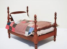 Vintage Doll Bed with Antique Bedding by ThistleNSageVintage