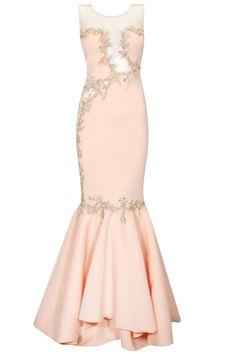 Creamy peach embroidered cutout flared gown available only at Pernia's Pop Up Shop.