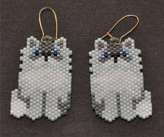 Gray Persian Cat Earrings