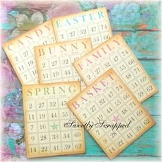 6 Easter Bingo Cards ... Aged to look by SweetlyScrappedArt  #easter #scrapbook #Scrapbooking #cardmaking #bingo #vintage #sweetlyscrapped