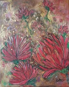 Acrylic Canvas, Abstract Canvas, Canvas Artwork, Mixed Media Painting, Mixed Media Canvas, Floral Flowers, Red Flowers, Modern Art, Art Pieces