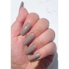 Nude Reusable False Nails Beige Glue On Fake Nails Long Stiletto... ($9.22) ❤ liked on Polyvore featuring beauty products and nail care