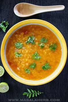 Comforting Indian Lentil Soup stuffed with gorgeous flavors, perfect nutritious vegan quick & easy weeknight meal after a long day. Recipe with video how to Indian Lentil Soup, Red Lentil Soup, Lentil Soup Recipes, Easy Soup Recipes, Yummy Recipes, Goan Recipes, Indian Food Recipes, Quick And Easy Soup, Real Quick