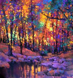 """""""Inner-Glow"""" Pastel Landscape painting by Teresa Saia Landscape Drawings, Abstract Landscape, Landscape Paintings, Tree Paintings, Oil Pastel Landscape, Oil Pastel Paintings, Landscape Wallpaper, Paintings Of Nature, Landscape Architecture"""