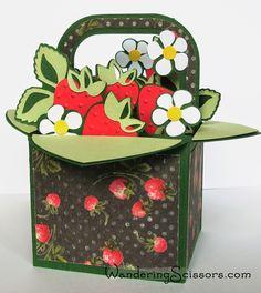 Wandering Scissors: Strawberry Basket Box Card