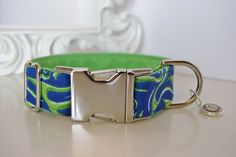 Green Blue Flames Dog Collar With Green Color by TwistedPetDesigns, $23.00
