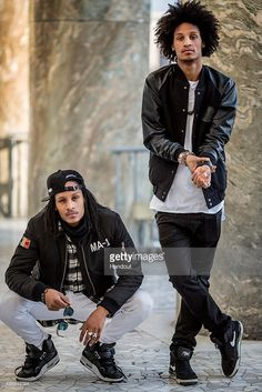In this handout image provided by Red Bull, Dancers 'Les Twins' Laurent (L) and Larry (R) Bourgeois of France pose for a photo at Spazio Novevcento prior to this weekend's Red Bull BC One breakdancing world final on November 11, 2015 in Rome, Italy.