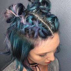 ⇝≫✿bellaacxo✿≪⇜ colorful hair // space buns // blue purple hair // glitter roots