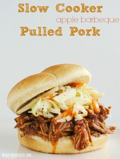Slow Cooker apple bbq Pulled Pork Sandwiches ::: wonkywonderful.com