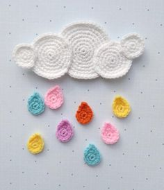 Pattern Cloud Raindrops Applique Crochet Pattern Pdf For Baby For Sweater For Blanket Autumn Weather Embellishment Accessories Motif Eng Pattern Cloud Raindrops Applique Crochet Pattern Pdf For Baby Etsy Appliques Au Crochet, Crochet Motifs, Applique Patterns, Knitting Patterns, Crochet Patterns, Flower Applique, Crochet Gifts, Crochet Toys, Double Crochet