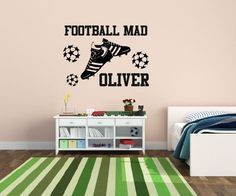 Personalised Football Mad Name wall art sticker all kid names Boys/Girls Nursery in Home, Furniture & DIY, Home Decor, Wall Decals & Stickers | eBay!