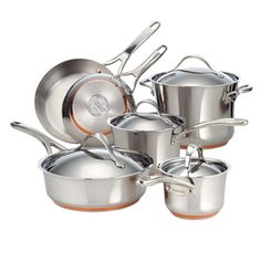 $299  Anolon Nouvelle Copper Stainless Steel 10-piece Cookware Set | Overstock.com   I like the touch of copper here