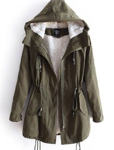 Womens Hoodie Drawstring Army Green Military Trench Parka Jacket ...