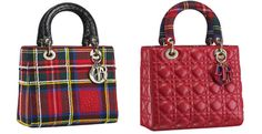 Lady Dior handbag dressed in embroidered tartan - part of Dior's pop-up store at Harrods
