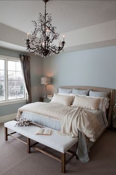 Love the chandelier in the bedroom - Pale Blue Master Bedroom - traditional - bedroom - other metro - R. Blue Master Bedroom, Master Bedroom Design, Blue Bedrooms, Bedroom Designs, Bedroom Neutral, Girls Bedroom, Feminine Bedroom, Single Bedroom, Master Bedrooms