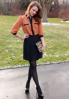 Two toned blouse + pleated skirt