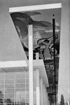 SKIDMORE & OWINGS WITH JOHN MOSS /   VENEZUELA BUILDING AT NEW YORK WORLD'S FAIR WITH A CEILING FRESCO BY LUIS LOPEZ MENDEZ, 1939-40