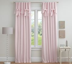 Our blackout panels make it easy to keep the room peacefully dark when it's time to sleep, even on sunny afternoons. With a dense backing sewn onto one of our designer fabrics, they set the standard for smart window design. The belt-loop Blackout Panels, Blackout Curtains, Kids Curtains, Drapes Curtains, Nursery Curtains Girl, Valances, Cottage Shabby Chic, Little Girl Rooms, Window Design