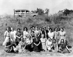 Topanga Women's Auxiliary, July 1942.  They sponsored an old-fashioned community picnic on July 4, 1943 which continued as an annual tradition in Topanga, later becoming Country Fair, Strawberry Festival, and finally Topanga Day, which is sponsored by the Women's Club.  Topanga Historical Society. San Fernando Valley History Digital Library.