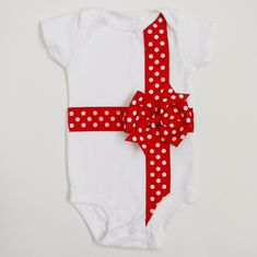 Christmas Bow Applique Onesie or T-Shirt - Baby Christmas Outfit - Great Photo Prop, Gift, Present - Baby Christmas Onesie. $18.99, via Etsy.