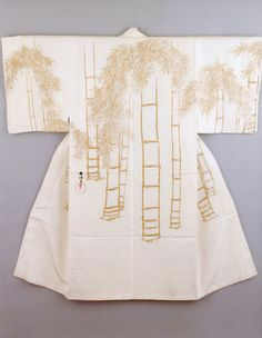 Kamisaka Sekka (Japan, Kyoto, 1866 - 1942) Man's Under-Kimono (Juban) with Bamboo Grove Design, circa 1920-1930 Costume/clothing principle attire/entire body, Silk plain weave with handpainted gold ink, Center back length: 53 1/2 in. (135.89 cm); Width (cuff to cuff): 50 3/4 in. (128.91 cm)