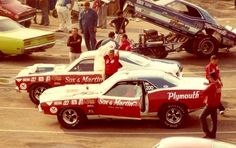 Sox & Martin cars in the staging lanes, 1970.