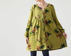 Fabrics; Cotton Colors; Gray, green  Size M; Shoulder 41cm / 16   Bust 114cm / 44  Sleeve 56cm / 22  cuff around 20cm / 8  Length 80cm / 31.2  Hem 158cm