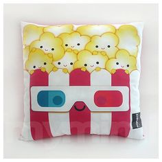 For the home theater - Decorative Pillow Popcorn Pillow 3D Glasses Movie Night by mymimi, $28.00