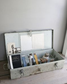 industrial aqua toolbox for office suppies or as jewelry or toiletry box
