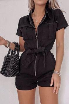 Order the Fashion Influx Black Denim Short Sleeved Oversized Playsuit from In The Style. Girly Outfits, Cute Casual Outfits, Short Outfits, Stylish Outfits, Black Summer Outfits, Grunge Outfits, Grunge Look, Grunge Style, 90s Grunge