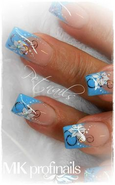 classic french nails With Glitter Blue Nail Designs, French Nail Designs, Acrylic Nail Designs, Pretty Nail Art, Beautiful Nail Art, Gorgeous Nails, Nagellack Design, Flower Nail Art, Cute Acrylic Nails