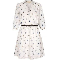 Yumi Bird Print Shirt Dress with Belt Included ($65) ❤ liked on Polyvore featuring dresses, robes, white, women, white dress, white dress with belt, three quarter sleeve dress, print dress and bird print dress