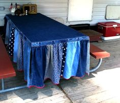 Camping tablecloth by while the iron's hot, via Flickr  ... cool idea, though I'd probably use a lighter-weight fabric for the skirt.  Would be fun to have some for our folding tables