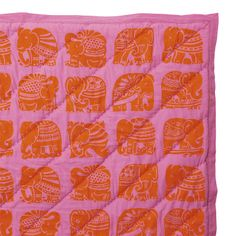 Tangerine Elephant Quilt: Hand wood blocked onto cotton voile which softens with age. #Quilt #Elephant #serena_&_lily