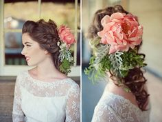 we love vintage when it incorporates a modern wink. see more blooming #wedding hairstyles here: http://www.mywedding.com/articles/wedding-hairstyles-with-flowers/