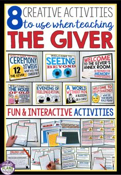 These are my 8 favorite activities to do when teaching The Giver by Lois Lowry!