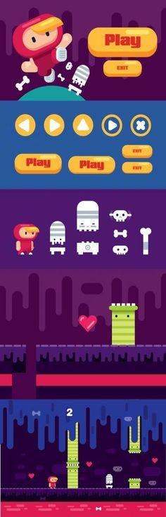 Cool Platformer elements for your video games. If you want to start with game development now, this game design template it's perfect for you. You will get… games graphism Game Design, Design Ios, Icon Design, Flat Design, Graphic Design, Design Thinking, Cover Design, Motion Design, Game 2d