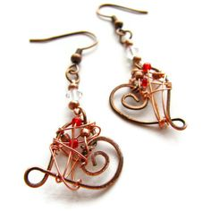 Hammered Heart and Swarovski Earrings Copper Wire Wrapped in Red Green or Blue CLEARANCE. $15.00, via Etsy.