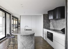 Australian Interior Design, Interior Design Awards, Stone Kitchen Island, Kitchen Interior, Kitchen Design, Charcoal Kitchen, Apartment Needs, Golden Design, City Living