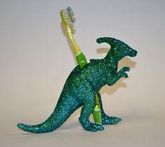 Dinosaur Toothbrush Holder Green Glitter by SnarlingBunny on Etsy
