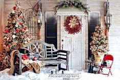 The front porch decorated for Christmas makes a delightful photo backdrop