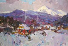 """Sergey Kovalenko  In the Mountain   Oil on canvas  18""""X26""""  (45x65 Cm)  $1250  For more information about this artist visit www.silvanagallery.com"""