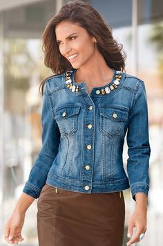 Visit Boston Proper for sophisticated sexy women's clothing, accessories & shoes for all occasions. Jean Moda, Jacket Style Kurti, Denim Fashion, Fashion Outfits, Dress With Jean Jacket, Unique Clothes For Women, All Jeans, Boston Proper, Denim And Lace