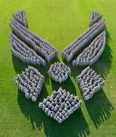 More than 650 Squadron Officer School students at Maxwell Air Force Base, Ala., form the Air Force logo to commemorate the Air Force's 67th birthday.