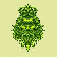 King marijuana head | Premium Vector #Freepik #vector #leaf #crown #nature #organic Green Leaf Background, Background Patterns, Pop Art Design, Leaf Design, Leaf Crown, Leaf Illustration, Dope Art, Mystery Box, Tatoo