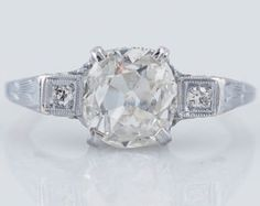 Antique Engagement Ring Art Deco Era 1.03 ct Cushion Old European Cut Diamond in 14K White Gold