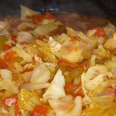 ORIGINAL FAT BURNING SOUP (from Sacred heart Memorial Hospital):  1 head of cabbage, 1 or 2 cans of tomatoes, 6 large green, onions, 2 green peppers, 1 pkg Lipton soup mix, 1 bunch of celery.  Options:  season with salt, pepper, curry, parsley, bouillon, or hot sauce.  Cut veggies is sm to med pieces & cover with water.  Boil fast for ten min., then simmer until tender.  Eat soup when ever you are hungry.  East as much as you want, it does not add calories.  The more you eat, the more you…