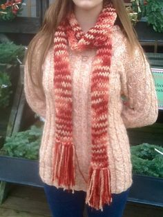 Russet Marble Super Long Knitted Scarf with Fringe. £12.00