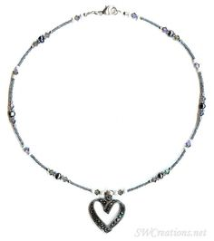 Marcasite Crystal Heart Pearl Necklace