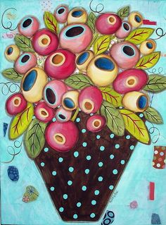 Mixed Media Flower Vase Poster featuring the mixed media Polka Dot Pot by Karla Gerard